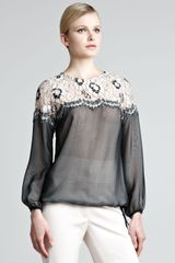 Lela Rose Laceshoulder Sheer Blouse - Lyst