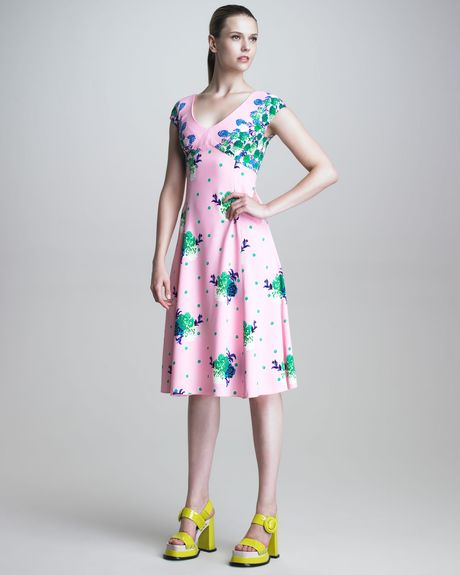 Marc Jacobs Dot Floral Print Dress in Pink (pink multi) - Lyst