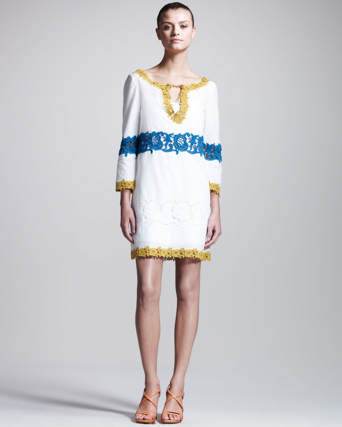 a351d1b7016 Philosophy di Alberta Ferretti Embroidered Muslin Tunic Dress in ...