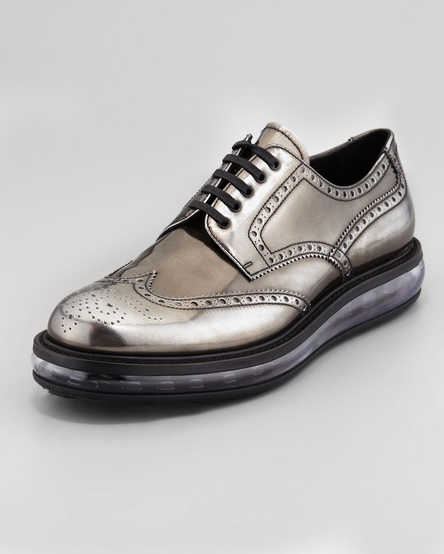 d5f548f234 Lyst - Prada Levitate Metallic Wingtip Gray in Metallic for Men