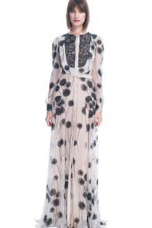 Valentino Wish Flower Chiffon Long Sleeve Embroidered Gown - Lyst