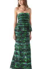 Alice + Olivia Mal Strapless Peplum Gown in Blue (black) - Lyst