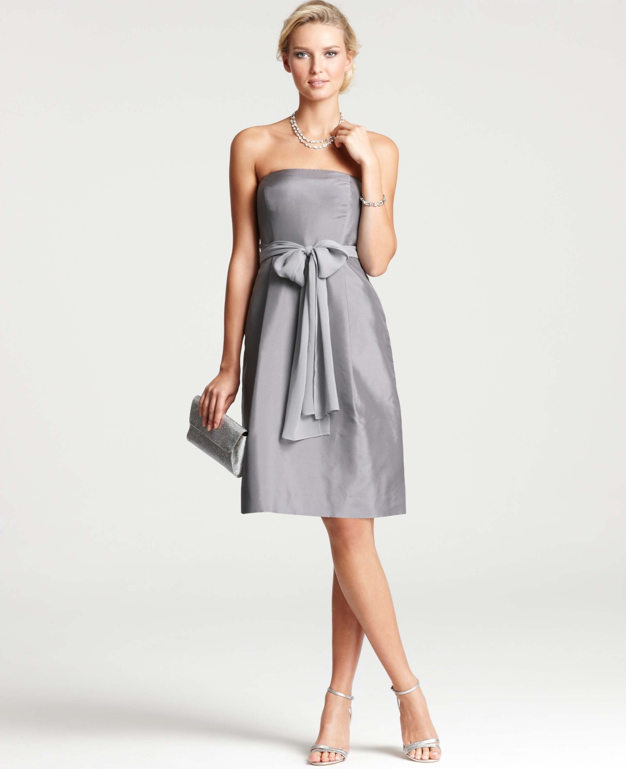 Lyst ann taylor silk dupioni strapless bridesmaid dress in gray gallery womens bridesmaid dresses ombrellifo Images
