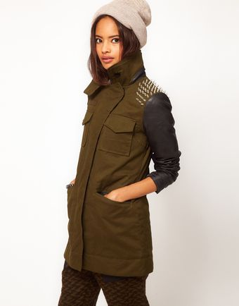 ASOS Collection Asos Studded Shoulder Military Jacket - Lyst