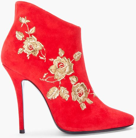 Balmain Red Anita Embroidered Suede Bootie in Red - Lyst