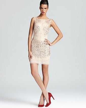 Basix Sequined Mesh Shift Dress  - Lyst