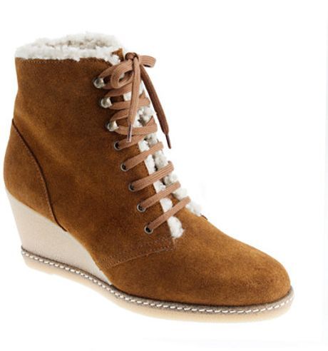 j crew macalister shearling wedge boots in brown