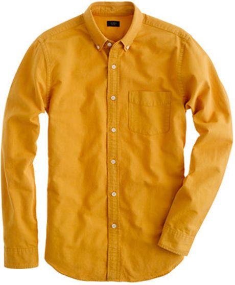 J Crew Tonal Oxford Shirt In Yellow For Men Golden Beach