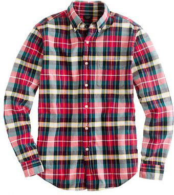 J.Crew Oxford Plaid Shirt in Holiday Red - Lyst