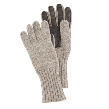 J Crew Wool Gloves With Touchtec Palm Patch In Natural For