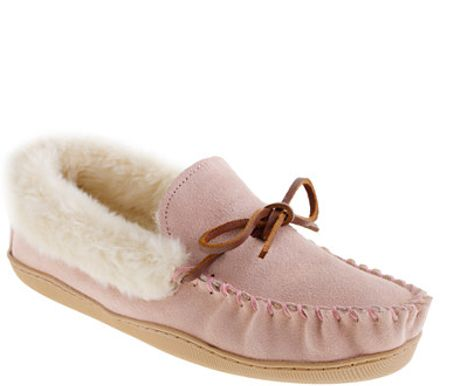 Lodge moccasins in purple mauve blush lyst for J crew bedroom slippers