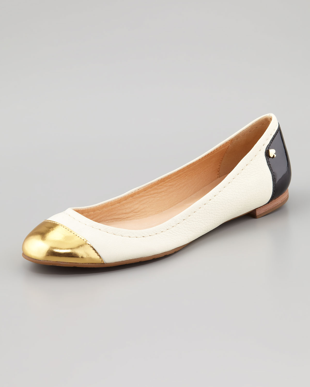 cfe0fdb7c Kate Spade Terry Leather Captoe Ballerina Flat in Metallic - Lyst
