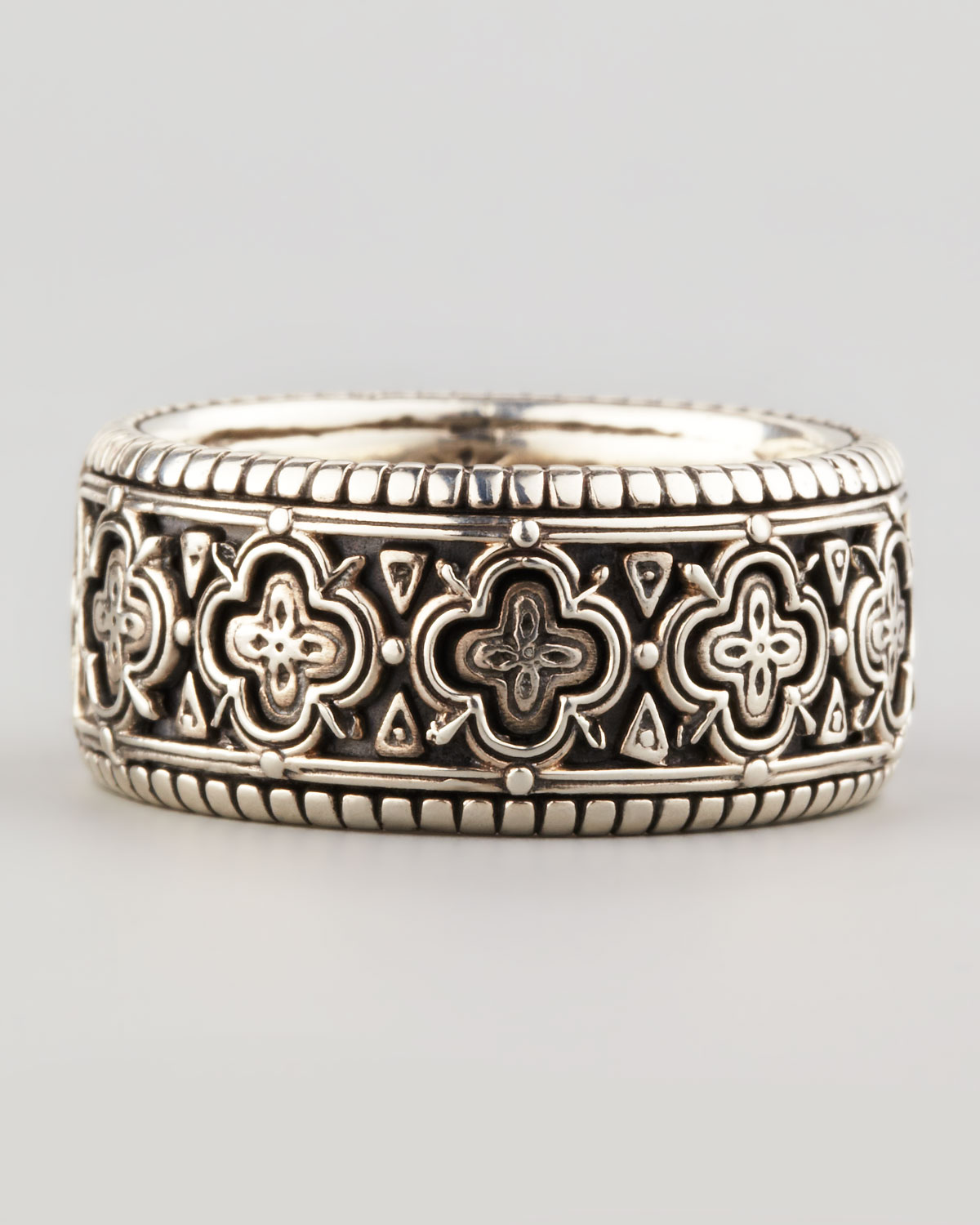 konstantino carved sterling silver band ring in silver for