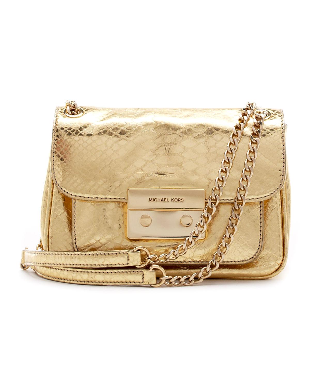 e043157d161 Lyst - Michael Kors Small Sloan Python Embossed Shoulder Bag in Metallic