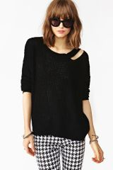 Nasty Gal Slashed Up Knit Black - Lyst