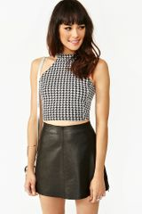 Nasty Gal Houndstooth Spike Crop Top