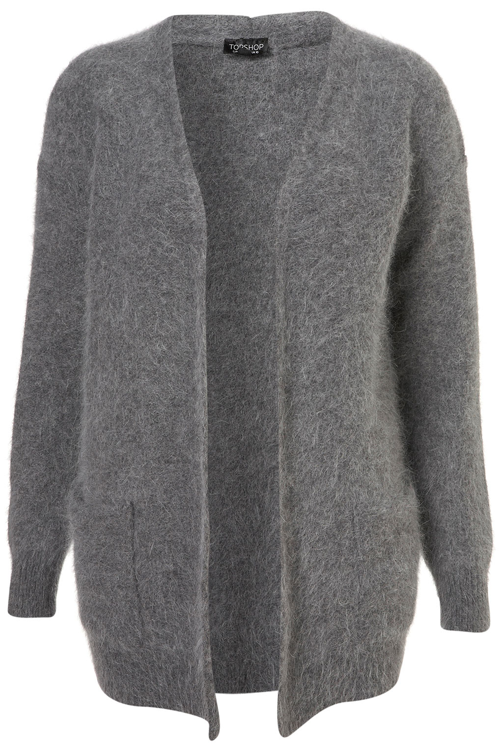 Topshop Knitted Super Fluffy Cardigan in Gray | Lyst