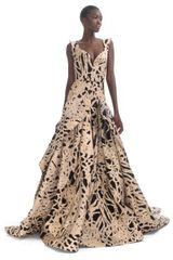 Zac Posen  Brocade Sweetheart Evening Gown in Gold - Lyst