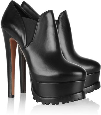 Alaïa Platform Leather Ankle Boots - Lyst