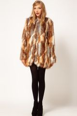 Asos Collection Longline Natural Patchwork Fur Coat in Brown (cream) - Lyst