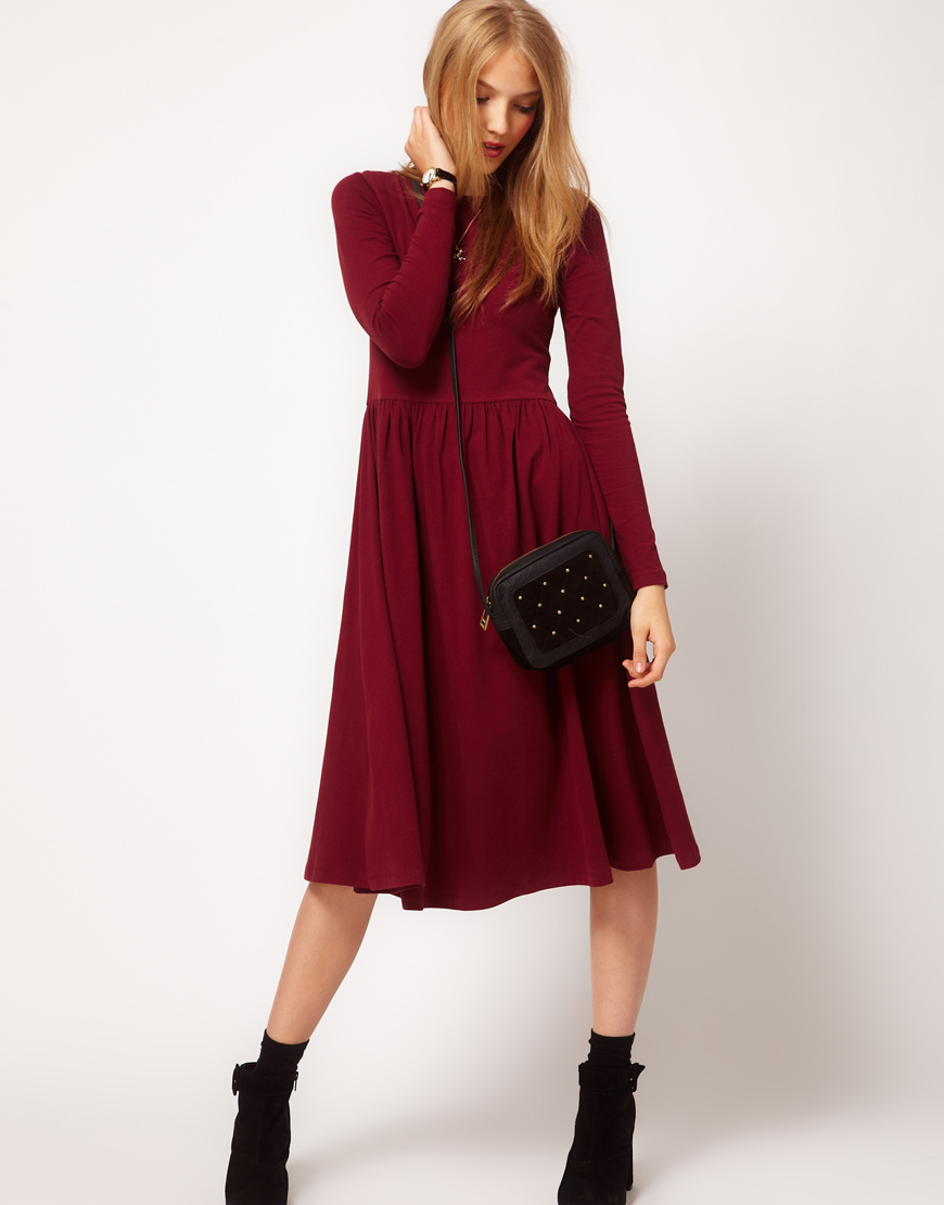 Lyst Asos Collection Midi Dress With Long Sleeve In Purple