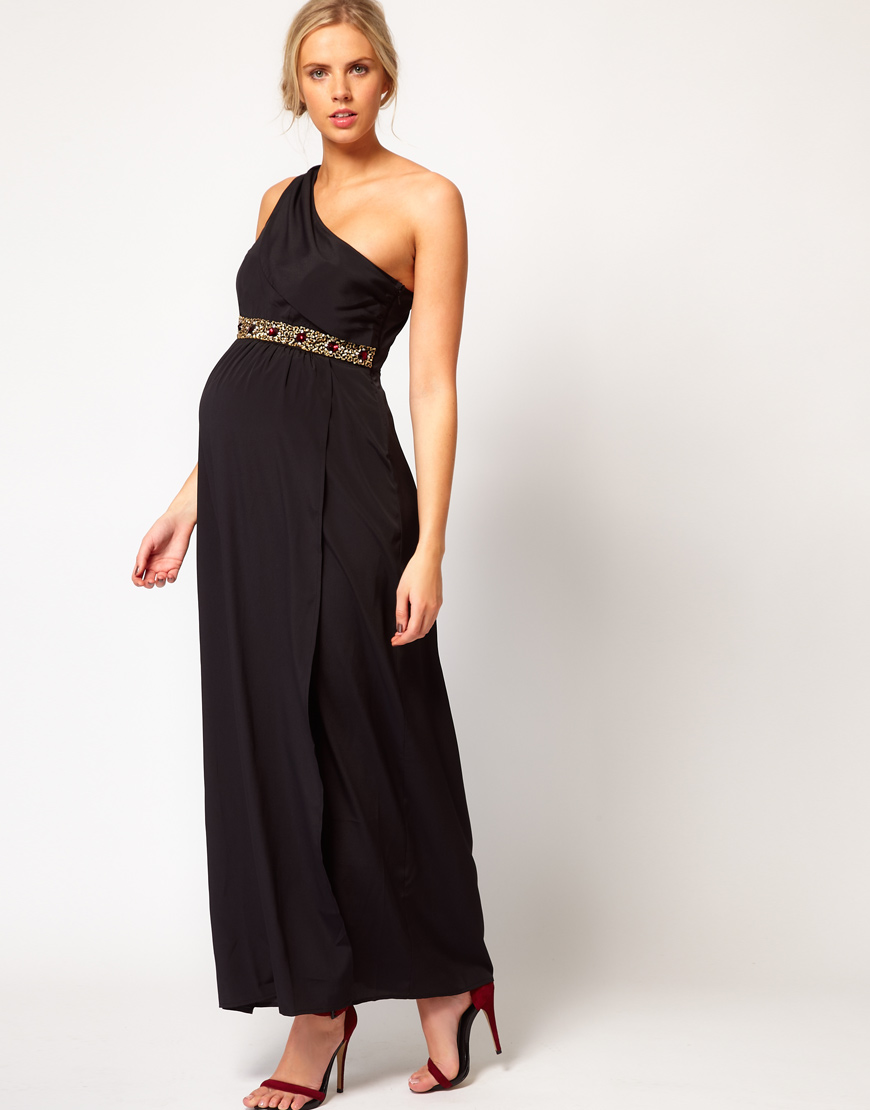 Lyst asos maxi dress with one shoulder and embellishment in blue gallery ombrellifo Choice Image