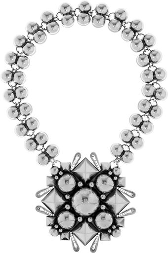 Bottega Veneta Oxidized Sterling Silver Necklace - Lyst