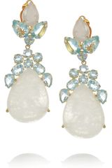 Bounkit 24karat Goldplated Moonstone and Quartz Clip Earrings - Lyst