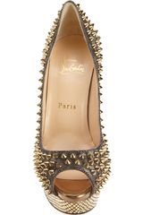Christian Louboutin Lady Peep Spikes in Gold (grey) - Lyst