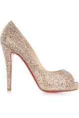 Christian Louboutin Very Richie 120 Swarovski Crystal Suede Pumps in Beige (nude) - Lyst