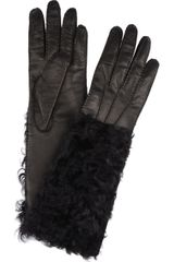 Dolce & Gabbana Leather and Shearling Gloves - Lyst