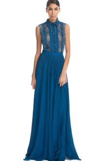 Elie Saab Cobalt Laceup Long Dress - Lyst