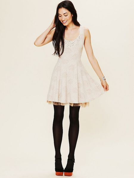 Free People Rock Princess Fit And Flare Dress In White