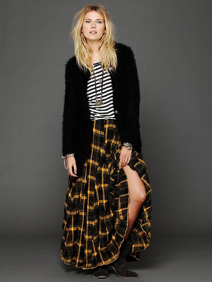 Railway Plaid Flannel Skirt In Charcoal