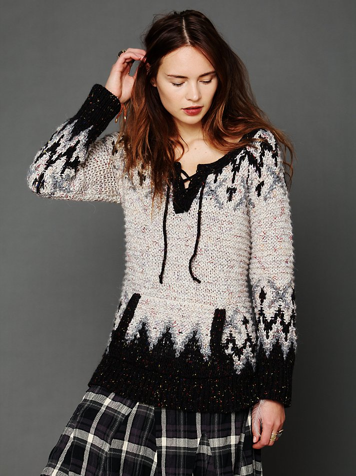 Free people Fairisle Lace Up Pullover in Black | Lyst