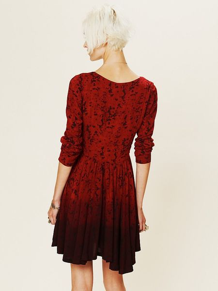 Free People Print Dip Dye Fit And Flare Dress In Red