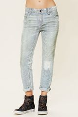 Free People 5 Pocket Slim Slouch Jeans in Blue (railroad dirt) - Lyst