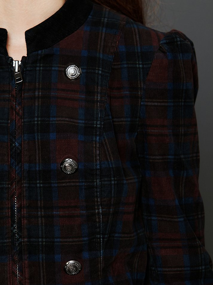 Lyst Free People Plaid Corduroy Lady Coat In Red