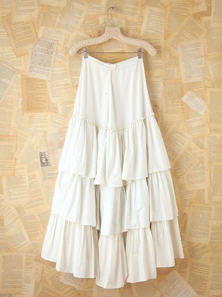 Free people Vintage Long Tiered Skirt in White | Lyst