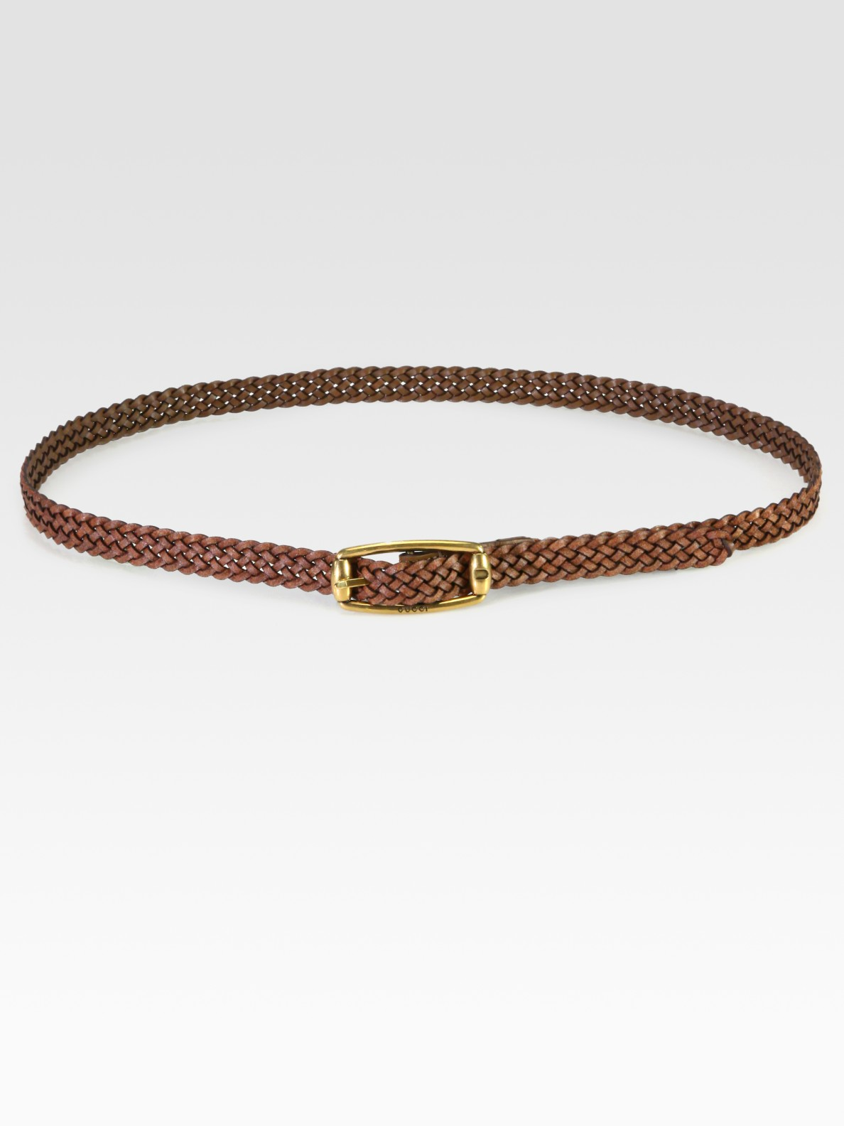 gucci braided leather belt in brown lyst