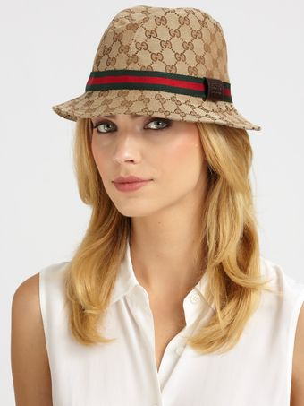 Gucci Leather Trim Fedora - Lyst