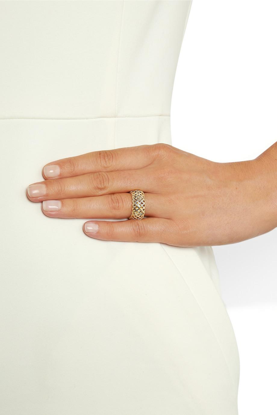 1e86d7455 Lyst - Gucci Diamantissima 18karat Gold Ring in Metallic