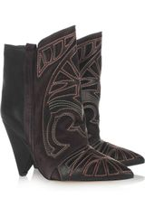 Isabel Marant Berry Embroidered Leather and Suede Boots