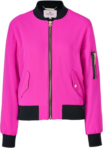 Juicy Couture Pink Cerise Georgette Bomber Jacket - Lyst
