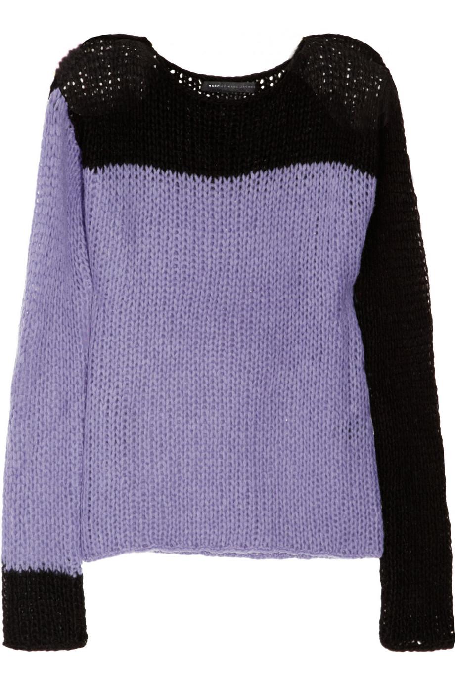 marc by marc jacobs bee openknit woolblend sweater in purple lyst. Black Bedroom Furniture Sets. Home Design Ideas