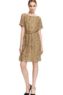 Marchesa Embroidered Gold Tunic with Self Belt - Lyst