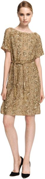 Marchesa Embroidered Gold Tunic with Self Belt in Gold - Lyst