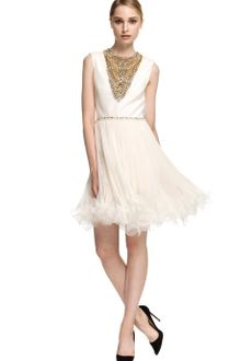 Marchesa Embroidered Chiffon Cocktail Dress - Lyst