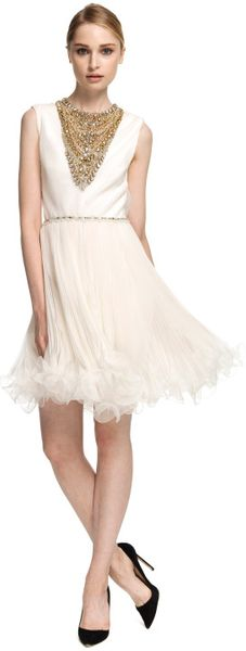 Marchesa Embroidered Chiffon Cocktail Dress in White (ivory) - Lyst