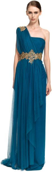 Marchesa One Shoulder Georgette Gown with Tulle Overlay in Blue (teal) - Lyst